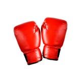 Красные перчатки бокса на белой предпосылке Стоковое Изображение