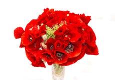 Красные полевые цветки rhoeas мака в прозрачном конце вазы вверх Стоковое фото RF