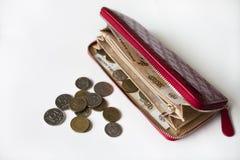 Красные портмоне и монетка и деньги Стоковое Изображение RF