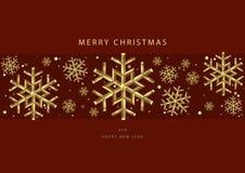 Красные предпосылки рождества с снежинками золота стоковые изображения