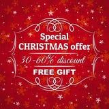 Красные предпосылка и ярлык рождества с продажей  Стоковые Изображения RF