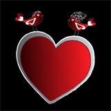 Красные птицы и сердце Стоковые Фотографии RF