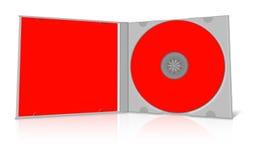 Красные пустые случай и диск компактного диска иллюстрация штока