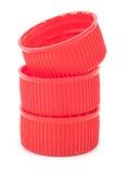 Красные пластичные затворы стоковое изображение