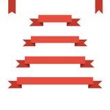 Красные плоские установленные знамена ленты иллюстрация вектора дизайна иллюстрация вектора