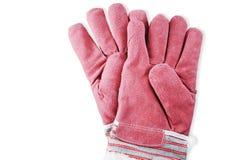 Красные работая перчатки на белой предпосылке Стоковое Изображение RF