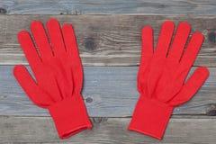 Красные работая перчатки Стоковое Фото