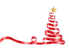 Красные рождественская елка и звезда ленты на белом векторе Стоковая Фотография