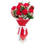 Красные розы в стеклянной вазе Стоковое Изображение RF