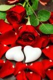 Красные розы и 2 белых сердца красный цвет поднял Стоковые Фото
