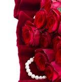Красные розы на бархате Стоковые Изображения RF