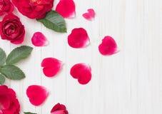 Красные розы на деревянной предпосылке Стоковое Изображение RF