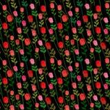 Красные розы на картине черной предпосылки безшовной Вектор Onament Стоковое Фото