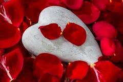 Красные розы с сердцем. влюбленность на день валентинки Стоковые Фотографии RF