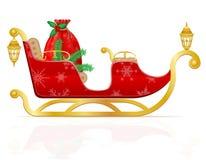 Красные сани рождества Санта Клауса с подарками vector illustrati Стоковое Изображение RF