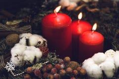 Красные свечи рождества с естественными украшениями Стоковая Фотография RF