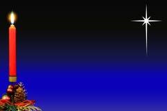 Красные свечка рождества и звезда Вифлеема. Стоковое Изображение