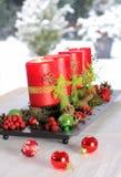 Красные свечки пришествия Стоковые Изображения RF
