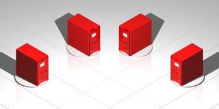 красные серверы Стоковые Фотографии RF
