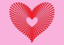 Красные сердца делают по образцу формировать форму большого сердца в концентрической перспективе картины выравнивания и изолирова бесплатная иллюстрация