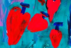 Красные сердца на зеленой предпосылке иллюстрация вектора