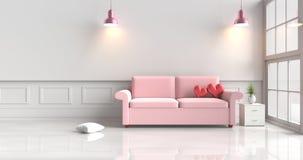 Красные сердца на кровати в комнате влюбленности Красные сердца на кровати в комнате влюбленности Стоковые Изображения RF