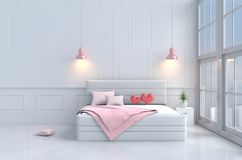 Красные сердца на розовой кровати в спальне дня ` s валентинки влюбленности Предпосылка и интерьер 3d представляют Стоковая Фотография RF