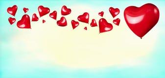 Красные сердца сформировали воздушные шары на предпосылке сини бирюзы Стоковые Фотографии RF