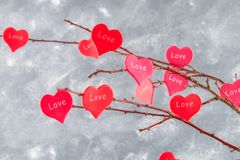 Красные сердца с влюбленностью надписи висят на ветвях на серой конкретной предпосылке изолированный вектор варианта вала знака п Стоковые Изображения