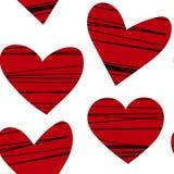 Красные сердца с чернотой stripes безшовная картина вектора Предпосылка дня валентинок, романтичный дизайн Бесплатная Иллюстрация