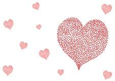 Красные сердца точек польки изолированные на белой предпосылке Стоковые Изображения