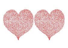 Красные сердца точек польки изолированные на белом backgro Стоковая Фотография RF