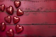 Красные сердца яркого блеска Стоковое Фото