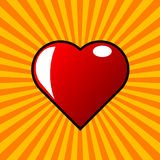 Красные сердце и взрыв Стоковые Изображения