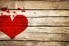 Красные сердца на деревянной предпосылке планок Стоковое Изображение RF