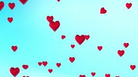 Красные сердца плавая предпосылка сток-видео