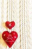Красные сердца рождества на шерстях Стоковое Изображение RF