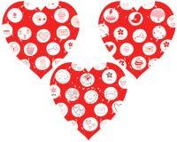 Красные сердца с чертежами Бесплатная Иллюстрация