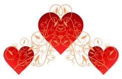 Красные сердца с эффектной демонстрацией золота Стоковые Фотографии RF