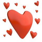 Красные сердца, 3D Иллюстрация штока