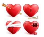 Красные сердца vector реалистический комплект 3d с стрелками, отверстиями для ключа, головоломкой и повязками иллюстрация вектора