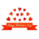 Красные сердце и лента летая Плакат печати Счастливый текст дня валентинок карточка 2007 приветствуя счастливое Новый Год Плоский Стоковая Фотография RF