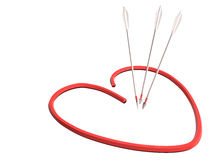 Красные сердце и стрелки, 3D Иллюстрация штока