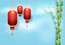 Красные смертная казнь через повешение и бамбук фонарика с предпосылкой неба, отрезком бумаги, p Стоковая Фотография RF