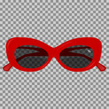 Красные солнечные очки на прозрачной предпосылке Стоковая Фотография