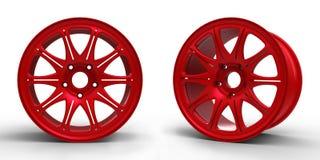 Красные стальные диски для иллюстрации автомобиля 3D Стоковое Изображение RF