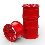 Красные стальные диски для иллюстрации автомобиля 3D Стоковые Изображения