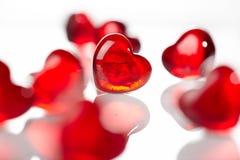 Красные стеклянные сердца Стоковое Изображение RF