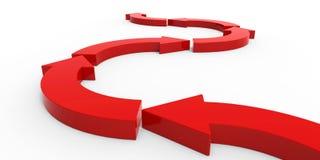 Красные стрелки на белой предпосылке Стоковое Изображение RF