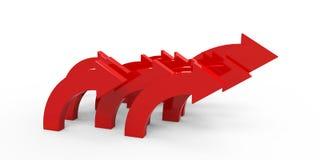 Красные стрелки на белой предпосылке Стоковое фото RF